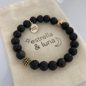 Black and Gold Natural Stone Boho Bracelet